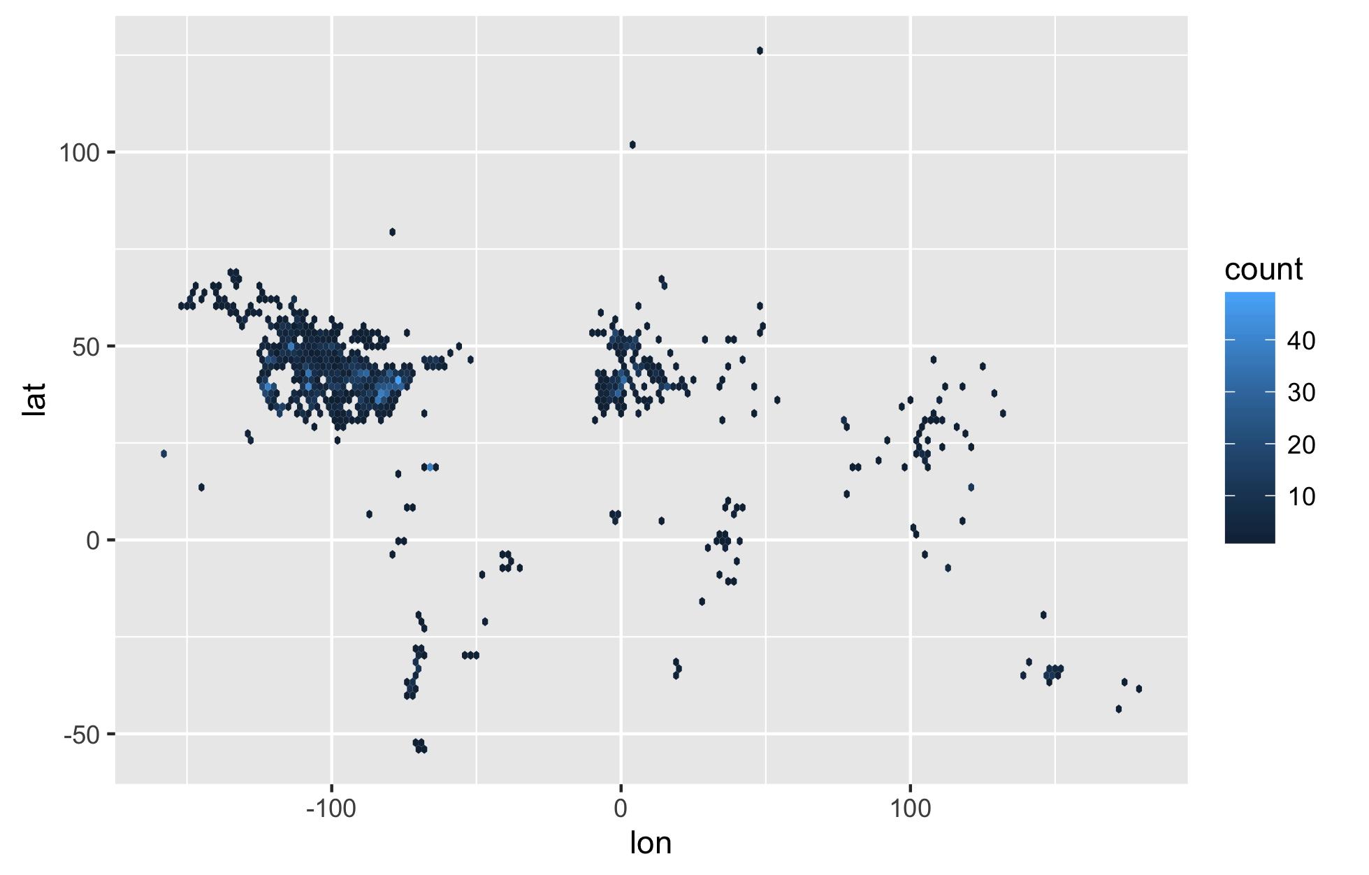 Mapping with ggplot2: stat_binhex maps – Santiago Beguería